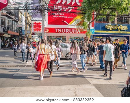 Bangkok/thailand - 26 June 2018:unacquainted People Walking In Siam Square At Bangkok City Thailand.