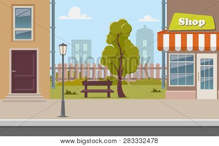 Cute Cartoon Town Street With A Shop, Tree, Bench, Fence, Street Lamp. City Street Background Vector