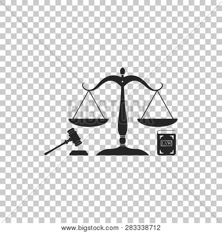 Scales Of Justice, Gavel And Book Icon Isolated On Transparent Background. Symbol Of Law And Justice