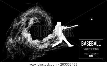 Abstract Silhouette Of A Baseball Player Batter On Dart Black Background From Particles, Dust, Smoke