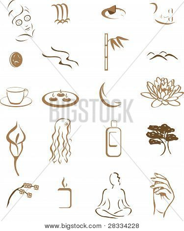 icons for day spa or salon or massage