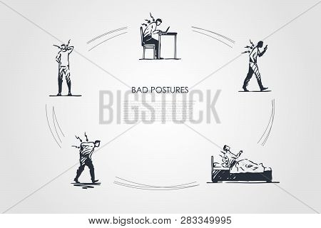 Bad Postures - Man Sitting, Standing And Lying In Bad Postures With Back Pain Vector Concept Set. Ha