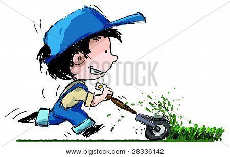 Smiling Boy Cutting Lawn