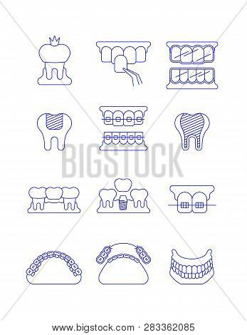 Dental Clinic Surgery Services Thin Line Vector Icons. Dental Implant, Bridge, Veneer, Crown Concept