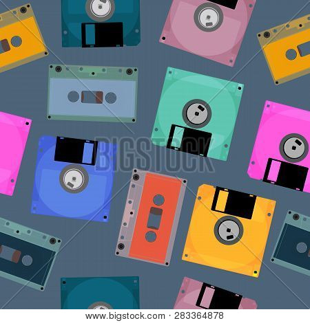 Old Audio Tapes And Computer Diskettes. Outdated Electronic Technologies. Vector Seamless Illustrati