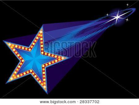 Falling star shape neon at night sky