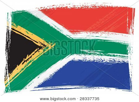 South Africa national flag created in grunge style