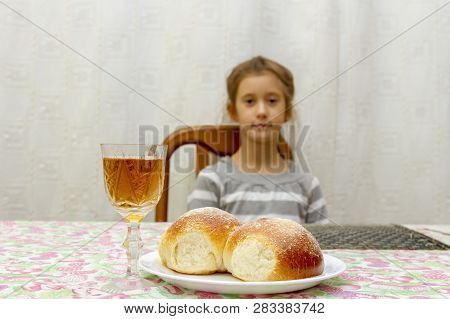 Child At Shabbat. Little Jewish Sabbath. Challah And Wine On The Sabbath Table.
