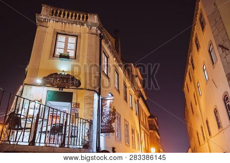 Lisbon, Portugal - 12/26/18: Restaurant Knife And Fork (faca E Garfo) At Baixa Chiado, Bairro Alto.