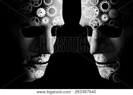 Artificial Intelligence Robot Masks With Cogs Indicating Mechanical Brain Power. Black Background Wi