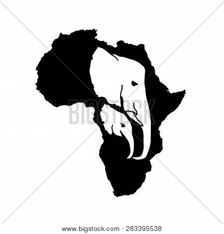 Vector silhouette of black Africa with two white elephant head silhouette inside. Elephant mother and baby head inside African silhouette