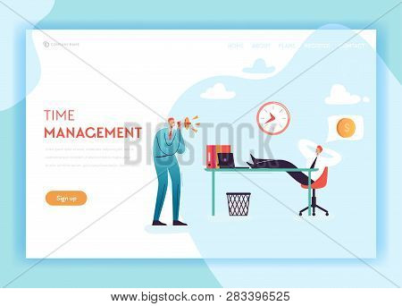Business Overtime Landing Page Template. Working Late Concept With Lazy Office Worker And Boss Screa