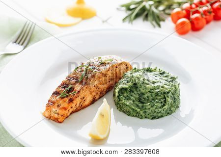 Grilled Salmon Steak Fillet Mash Potato Spinach