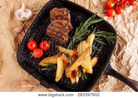 Beef Medallion Grilled Country Potato Flat Lay
