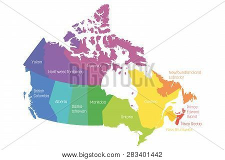 Map Of Canada Divided Into 10 Provinces And 3 Territories. Administrative Regions Of Canada. Multico