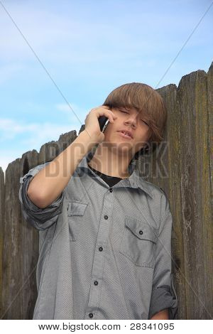 Teen Boy On Phone