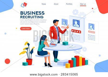 Infographic Of Employment Leadership. Recruit For Business, Recruitment Presentation. Job Hr Resourc