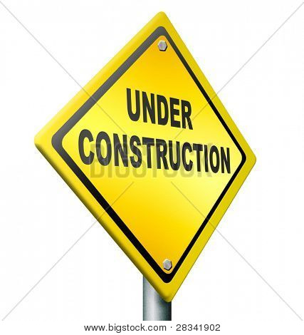 website under construction web repair or building internet page, yellow warning road sign