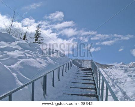 Snowy Stairs Horizontal