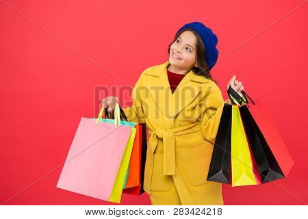 Prime Time Buy Spring Clothing. Obsessed With Shopping. Girl Cute Kid Hold Shopping Bags. Get Discou