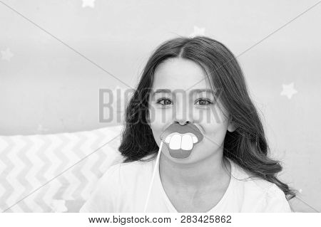 Slumber Party Photo Booth Props. Kid Girl Cheerful Posing With Toothy Mouth Lips Smile Party Attribu