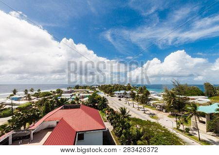 Majuro Town Centre Aerial View, Central Business District, Marshall Islands, Micronesia, Oceania, So