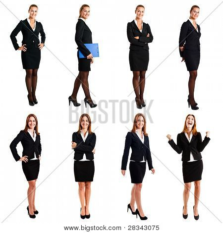 Collection of full length portraits of a beautiful businesswoman
