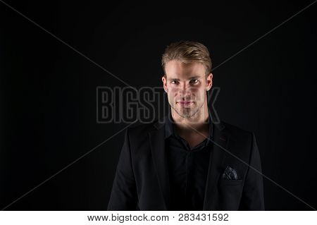 Man Handsome Well Groomed Macho On Black Background. Feeling Confident. Male Beauty And Masculinity.