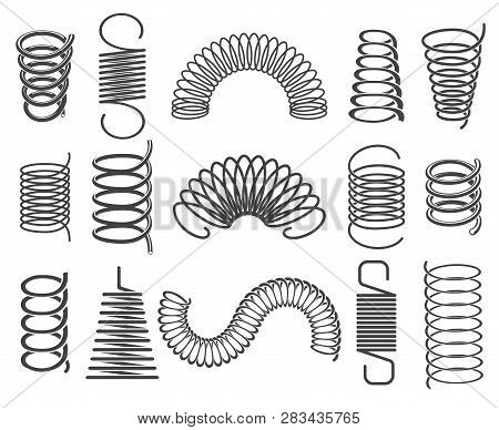 Metal Springs. Vector Metallic Spiral And Coil Spring Icons, Compacted Steel Springs Silhouette Symb