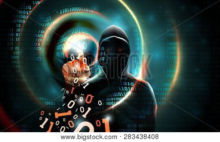 Computer Hacker With A Hood Touches The Touch Screen Binary Code. Light Waves On Abstract Binary Dar