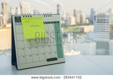 Postit With Job Interview Reminder On November Calendar