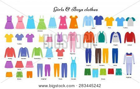 Baby Clothes. Vector. Kid Models. Children Clothing Set. Girl, Boy Cloth. Child Garment. Apparel Iso