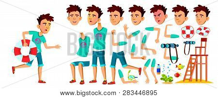Asian Teen Boy Vector. Lifeguard On The Beach. Animation Creation Set. Face Emotions, Gestures. Cauc