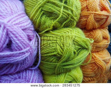Colored Balls Of Yarn. Side View. Rainbow Colors. All Colors. Yarn For Knitting. Skeins Of Yarn. Kni