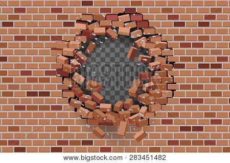 Wall Hole Destruction Red Brick Break Template Transparent Background Vector Illustration