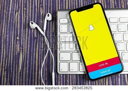 Sankt-petersburg, Russia, February 10, 2019: Snapchat Application Icon On Apple Iphone X Smartphone