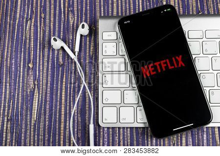 Sankt-petersburg, Russia, February 10, 2019: Netflix Application Icon On Apple Iphone X Screen Close
