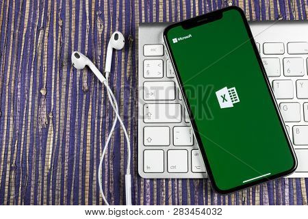 Sankt-petersburg, February 10, 2019: Microsoft Excel Application Icon On Apple Iphone X Screen Close