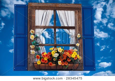 Country style window with flowers