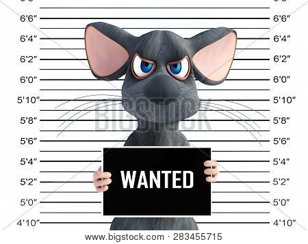 3d Rendering Of An Angry Cartoon Mouse Holding A Wanted Sign While Getting His Mug Shot.