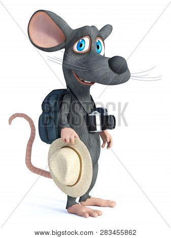 3d Rendering Of A Cute Smiling Cartoon Mouse With A Hat And A Camera, Looking Like A Tourist With Hi