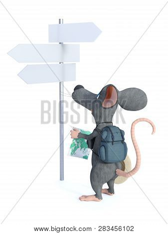 3d Rendering Of A Cute Smiling Cartoon Mouse Looking Like A Tourist With His Backpack And Holding A