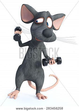 3d Rendering Of A Cute Cartoon Mouse Exercising With Dumbbells. He Looks A Bit Strained. White Backg