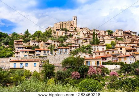 View Of The Village Of Eus In Pyrenees-orientales, Languedoc-roussillon. Eus Is Listed As One Of The