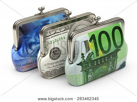 Purses With Fabric Made From Banknote Texture - 3d Illustration