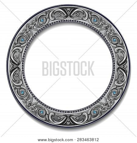 Round Frame Silver Color With Blue Topaz On White Background