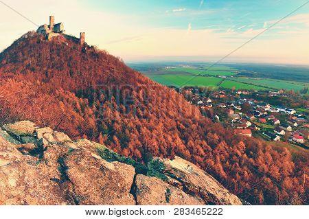 Bezdez Castle In Northern Bohemia In Czech Republic. Autumn Season.