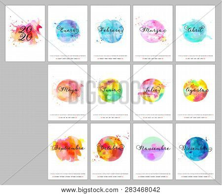 Spanish Calendar Design For The Year 2020, A Template With Calligraphy, Watercolor Textures Represen