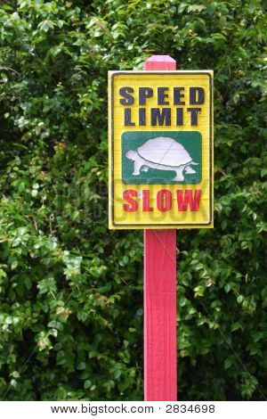 A sign indicating to keep speed very slow. Sign located in Miami's Metro Zoo. poster