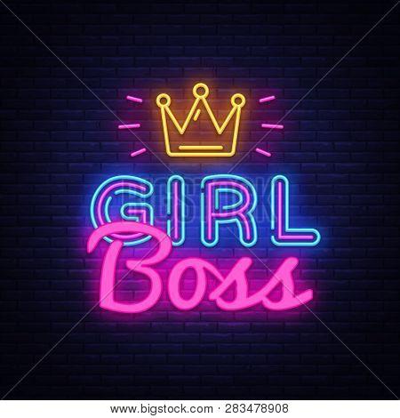 Girl Boss Neon Text Vector Design Template. Girl Boss Neon Logo, Light Banner Design Element Colorfu